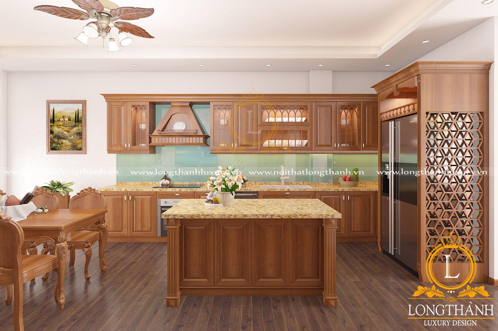 Mẫu tủ bếp gỗ Gõ cho nhà phố hẹp kết hợp bàn đảo tiện lợi