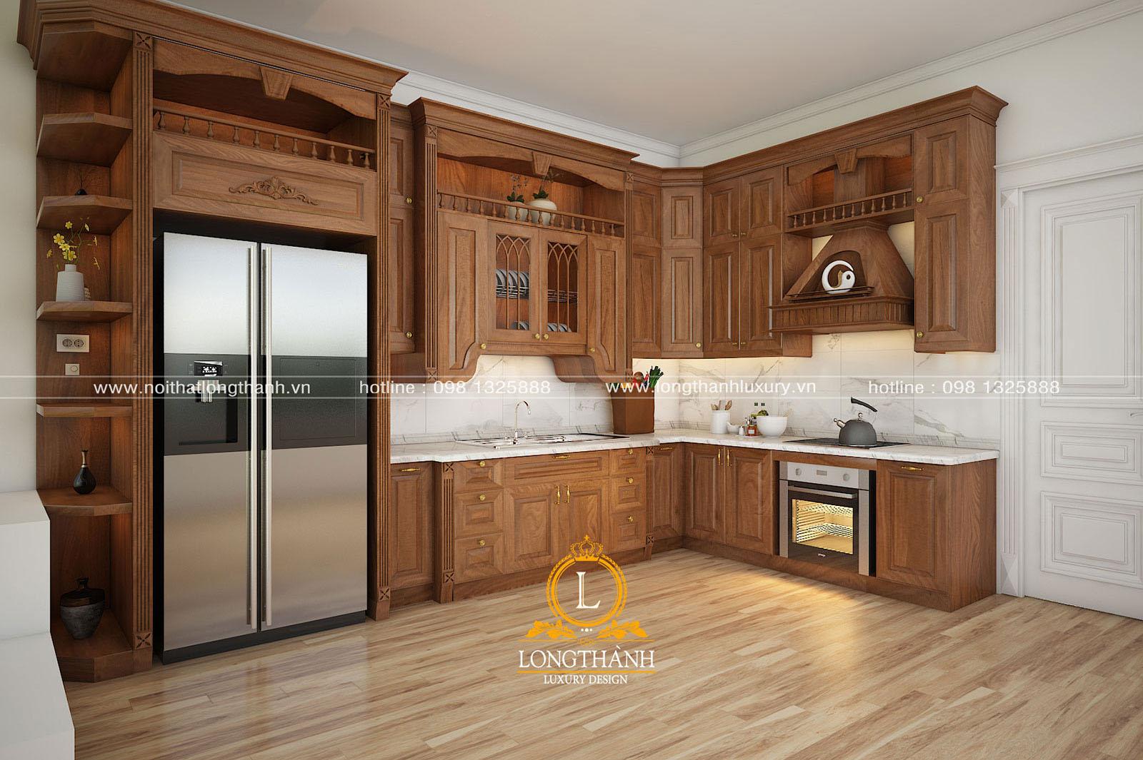 Mẫu tủ bếp gỗ tự nhiên đẹp LT 54 góc nhìn thứ 1