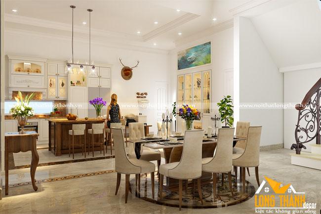 Tủ bếp tân cổ điển đẹp cho phòng bếp biệt thự