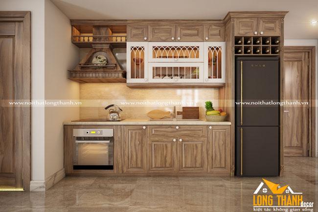 Tủ bếp tân cổ điển gỗ Cẩm tự nhiên kết hợp sơn trắng cho nhà chung cư hẹp