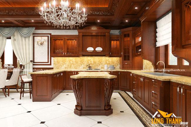 Tủ bếp tân cổ điển gỗ Gõ tự nhiên cho nhà biệt thự rộng lớn
