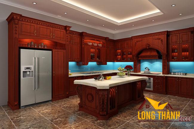 Tủ bếp tân cổ điển gỗ Hương