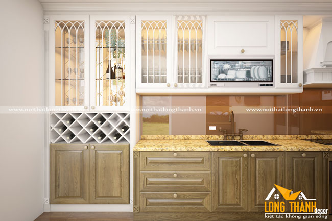 Tủ bếp tân cổ điển gỗ Sồi Mỹ kết hợp sơn trắng