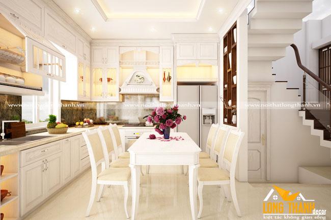 Thiết kế nội thất tủ bếp tân cổ điển gỗ Sồi Mỹ tự nhiên sơn trắng