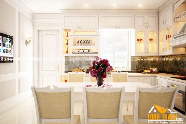 Tủ bếp tân cổ điển gỗ Sồi Mỹ tự nhiên sơn trắng