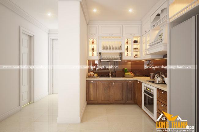 Tủ bếp tân cổ điển gỗ tự nhiên Óc chó kết hợp sơn trắng
