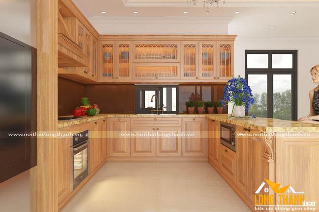 Tủ bếp tân cổ điển màu vân gỗ tự nhiên -  mẫu tủ bếp được lựa chọn nhiều nhất năm 2017