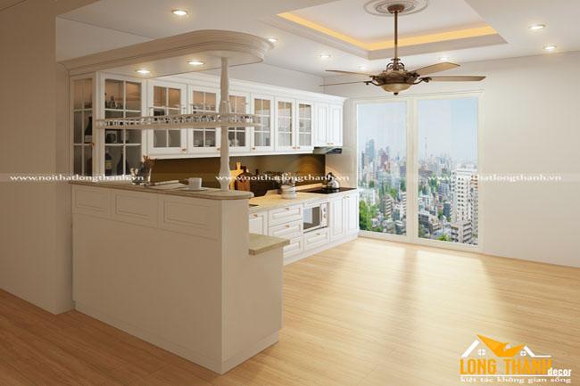 Tủ bếp tân cổ điển sơn trắng đẹp lung linh