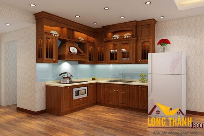Tủ bếp tân cổ điển với gỗ Lát tự nhiên