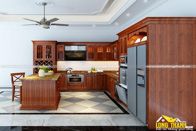 Tủ bếp tân cổ điển với gỗ Sồi Mỹ tự nhiên sơn màu đỏ
