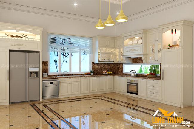 Vẻ đẹp của tủ bếp gỗ tự nhiên tân cổ điển sơn trắng ngà