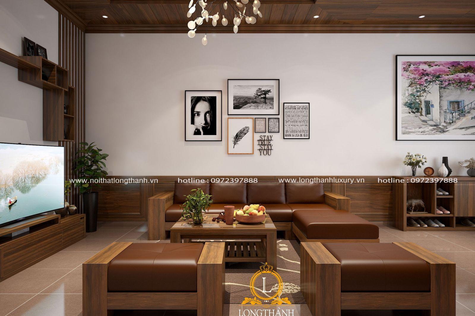 Thiết kế phòng khách hiện đại với tông màu trầm