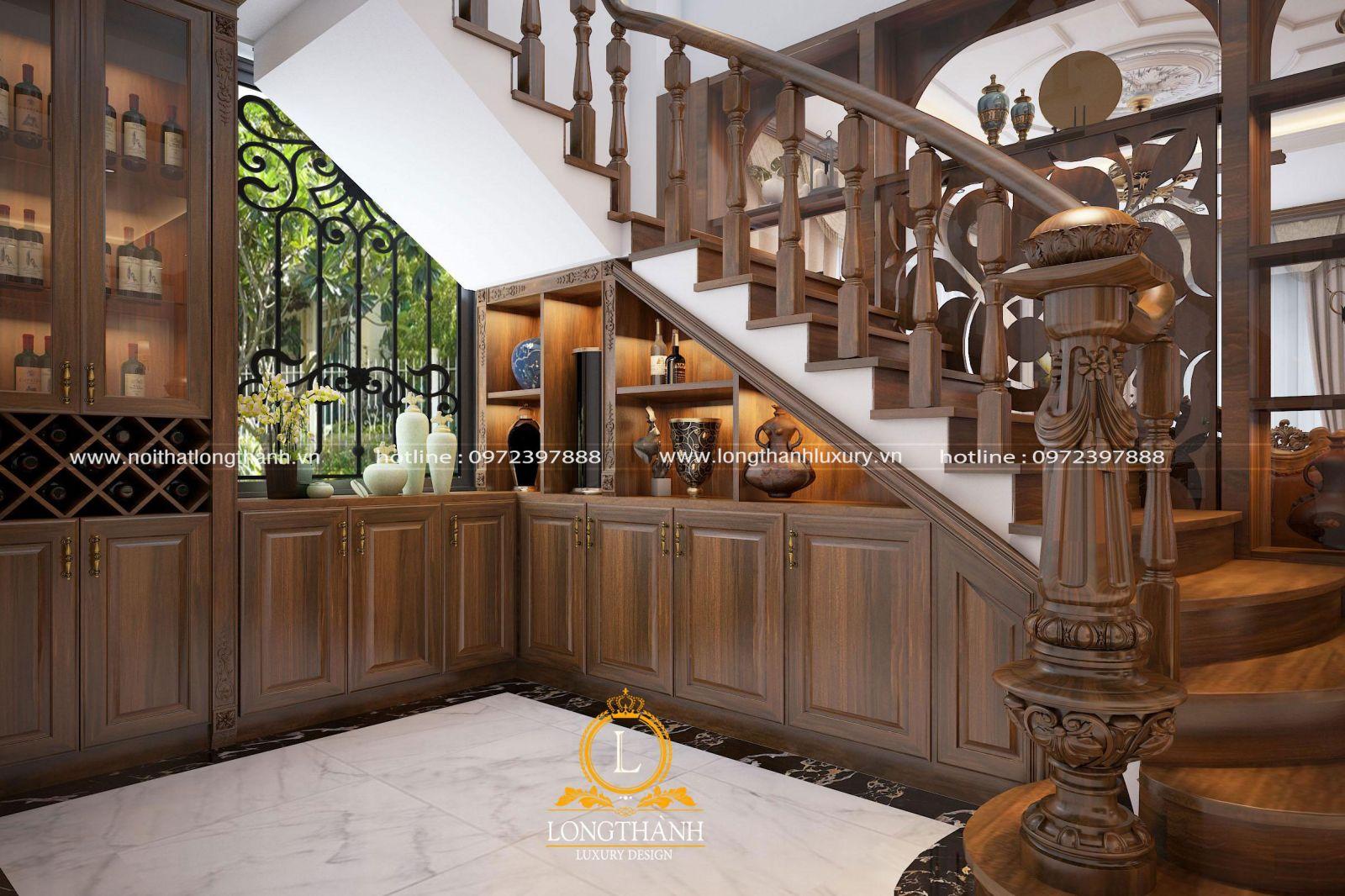 Mẫu tủ rượu gầm cầu thang – Giải pháp tối ưu cho không gian sống đẳng cấp