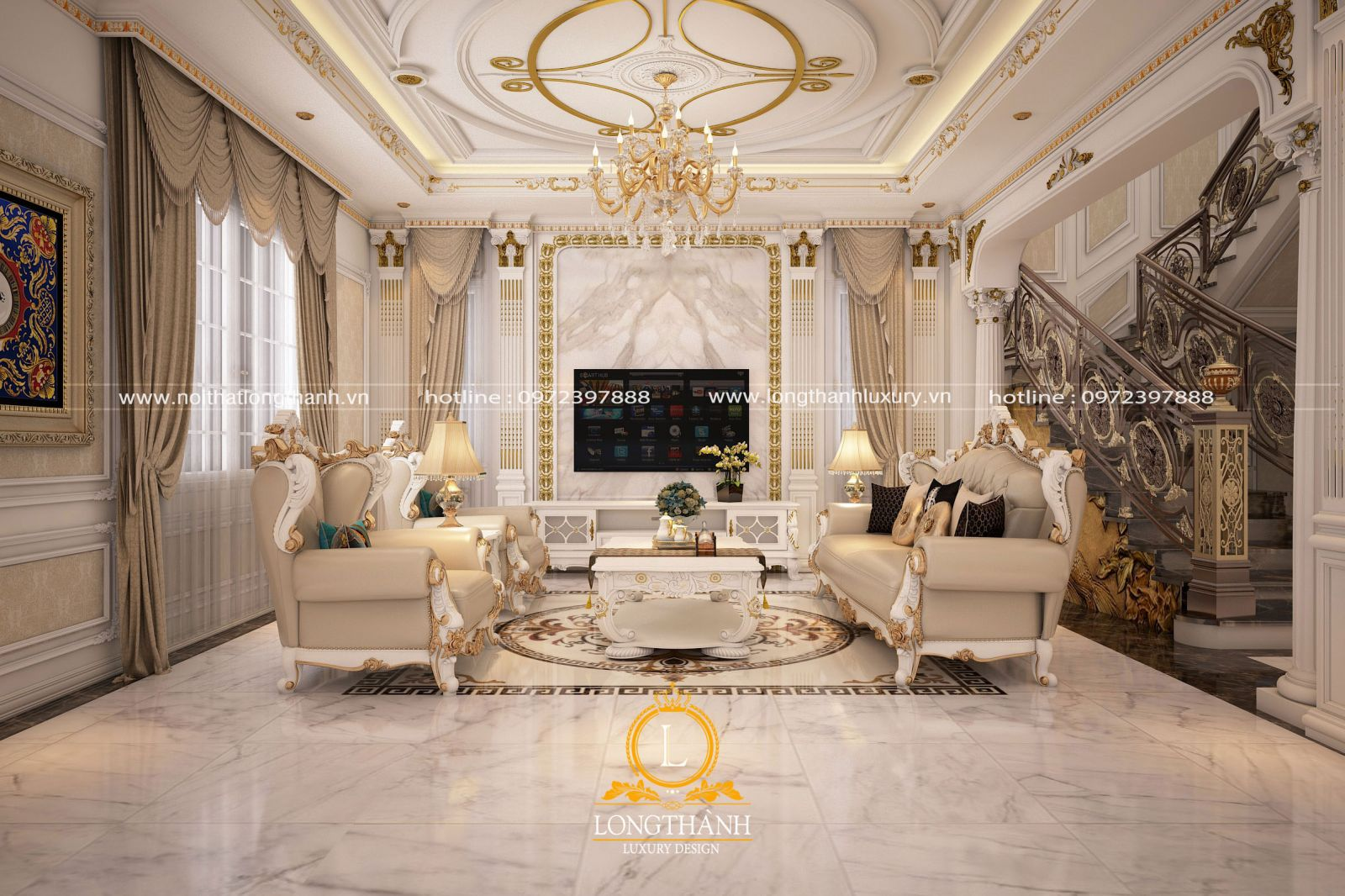 Đẹp nhẹ nhàng với mẫu phòng khách tân cổ điển gỗ tự nhiên sơn trắng