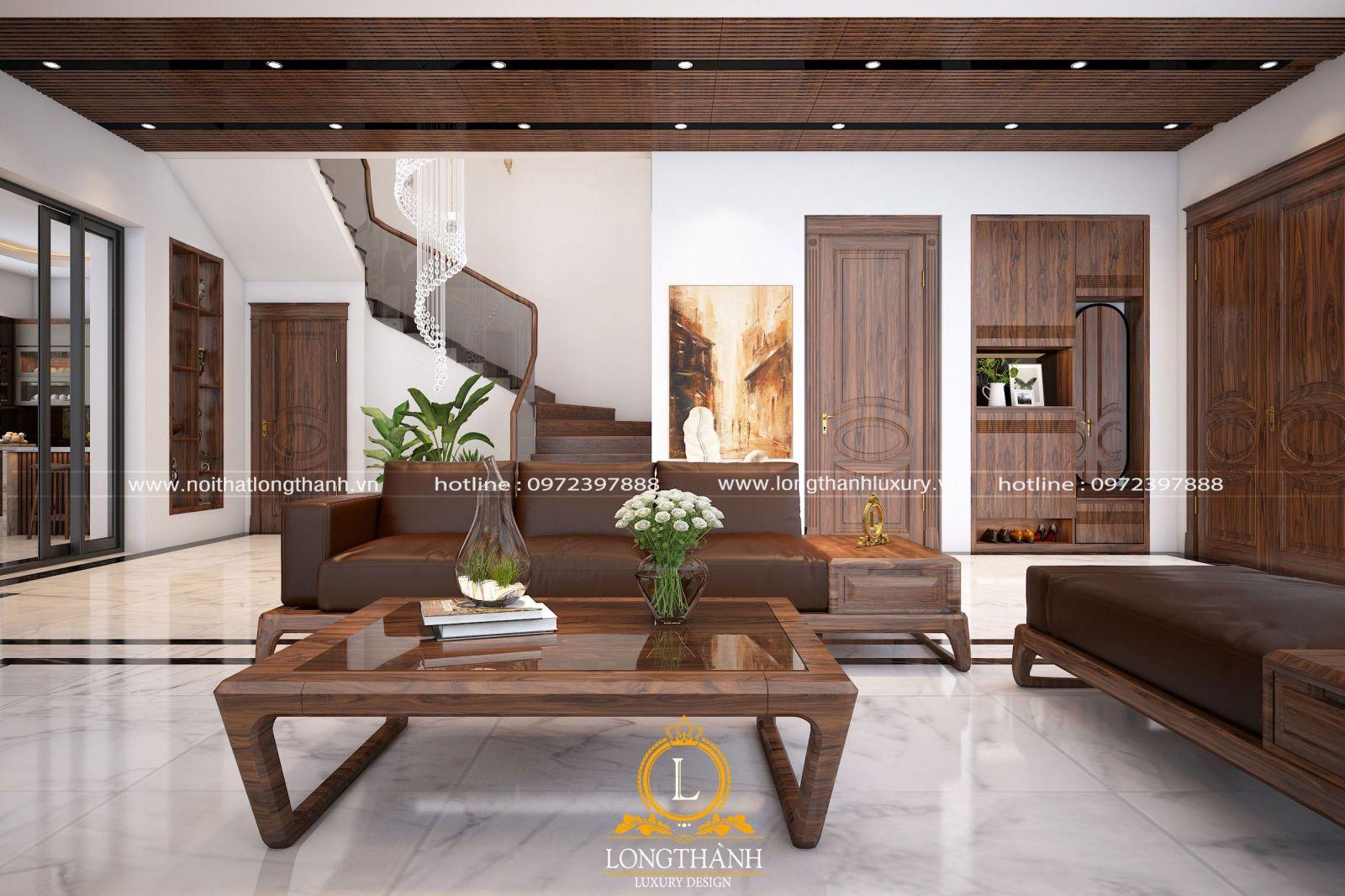 Những mẫu sofa gỗ tự nhiên cho phòng khách hiện đại