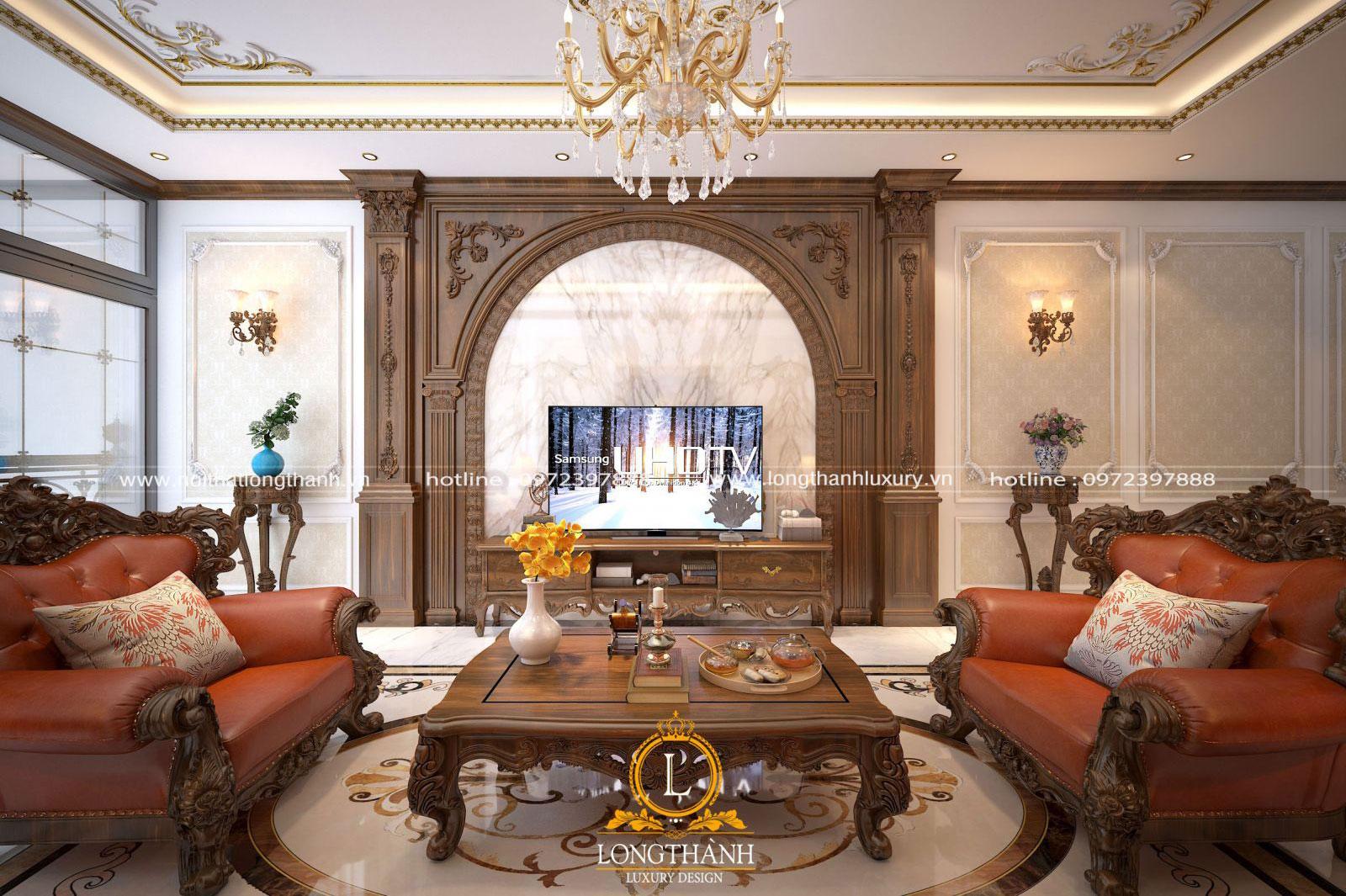 Mẫu thiết kế phòng khách nhà ống đẹp theo phong cách tân cổ điển