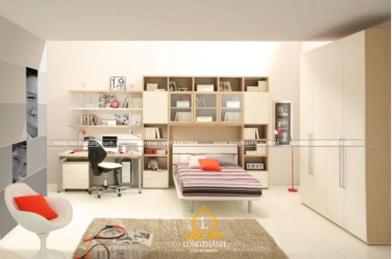 Mẫu thiết kế nội thất phòng ngủ hiện đại dành cho con trai