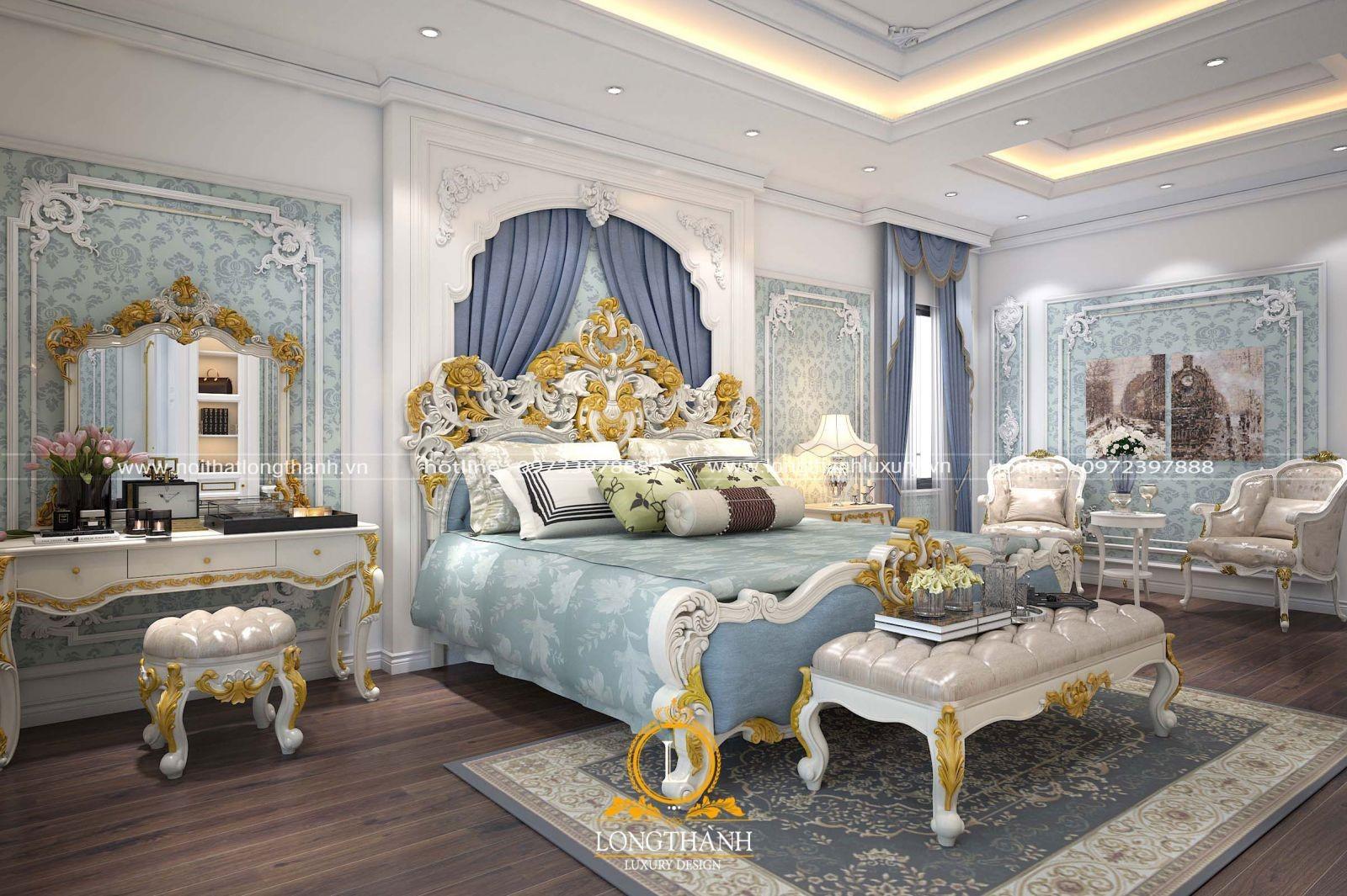 Thiết kế nội thất phòng ngủ nhà biệt thự mang mang màu sắc hiện đại cao cấp