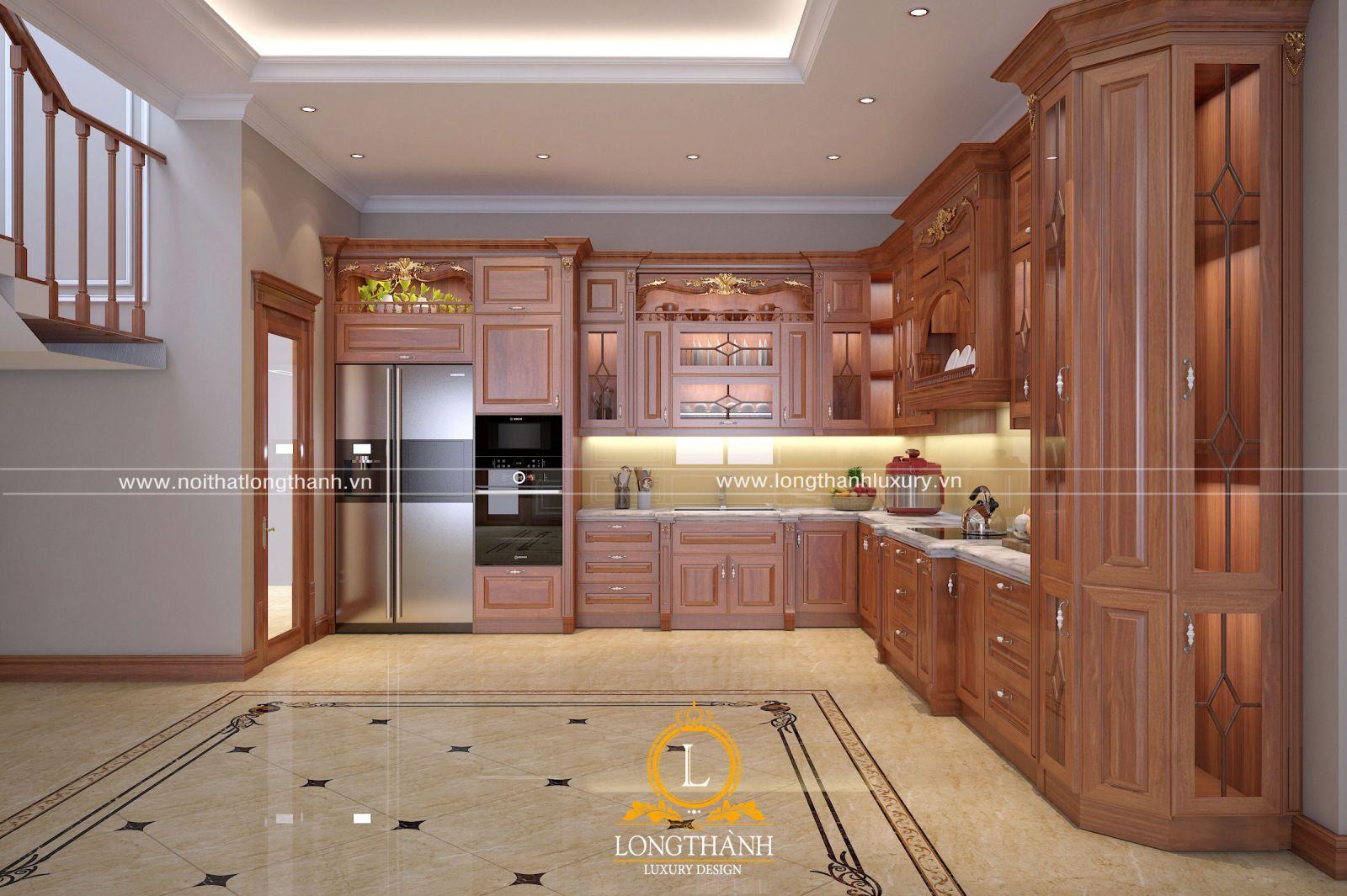 Bộ tủ bếp tân cổ điển làm từ gỗ Gõ cho nhà có không gian rộng