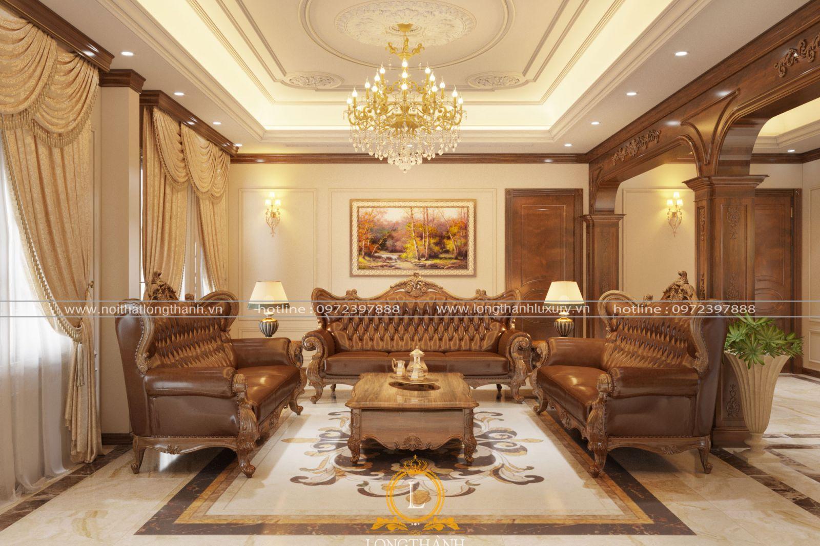 Trang trí nội thất phòng khách biệt thự đẹp LT12