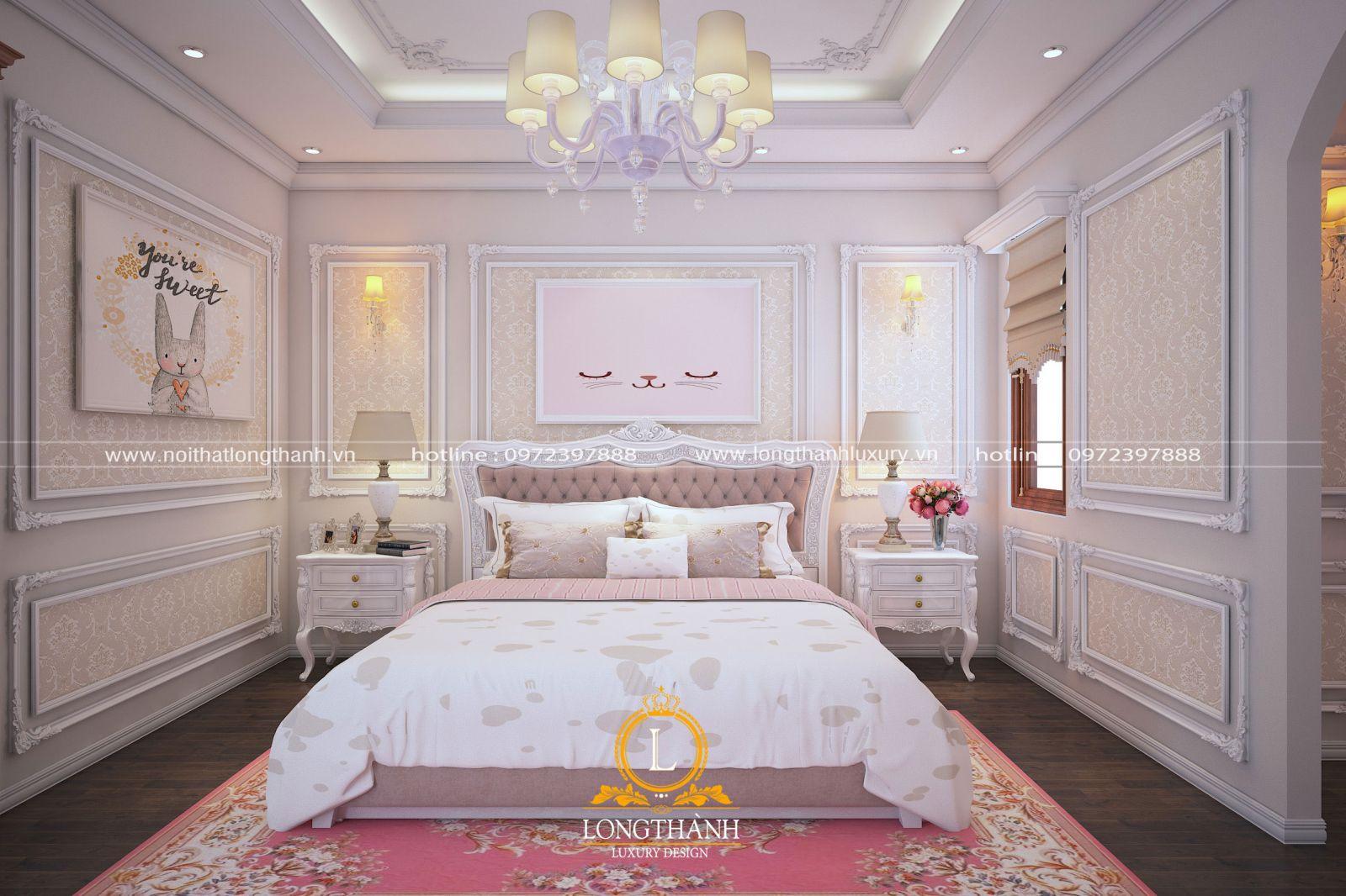 Phòng ngủ cao cấp cho bé gái đẹp như phòng công chúa