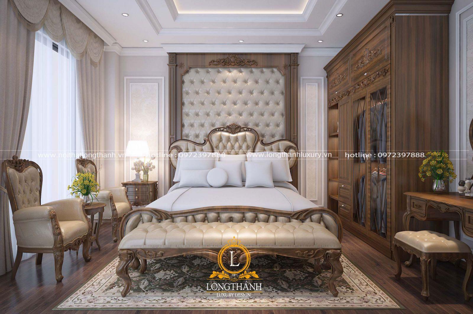 Nội thất phòng ngủ cao cấp cùng gỗ Óc chó tự nhiên