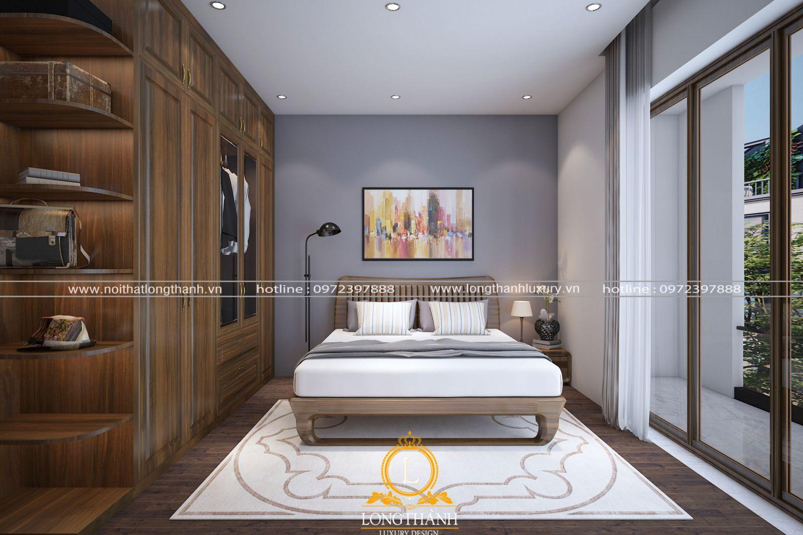 Mẫu phòng ngủ hiện đại với gỗ tự nhiên Óc chó