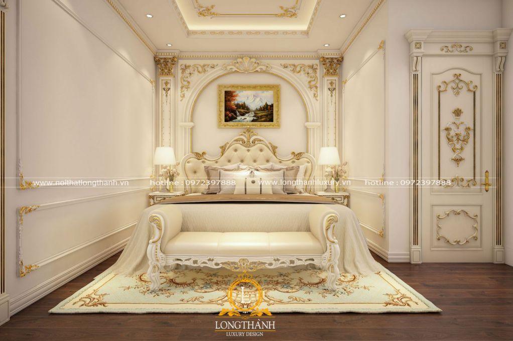 Vẻ đẹp đẳng cấp hoàng gia với phòng ngủ tân cổ điển sơn trắng dát vàng