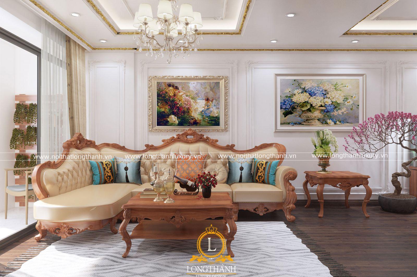 Mẫu thiết kế nội thất phòng khách nhà biệt thự với gỗ Sồi Mỹ
