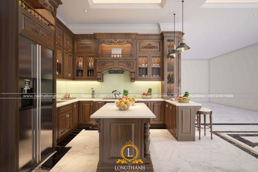 Tủ bếp gỗ tự nhiên sơn PU LT62