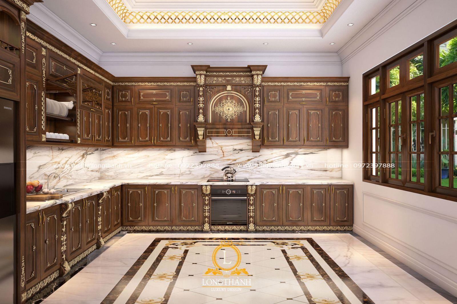 Mẫu tủ bếp tân cổ điển đẹp, đẳng cấp làm từ gỗ Gõ tự nhiên