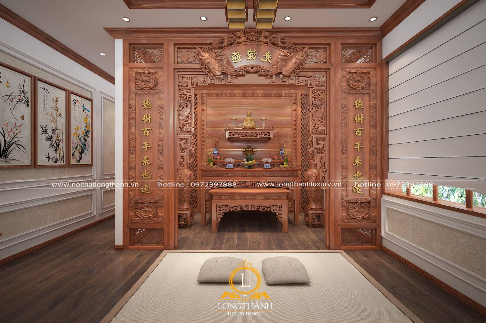 Mẫu bàn thờ gỗ Gụ đẹp 2021 – Chất liệu khẳng định đẳng cấp