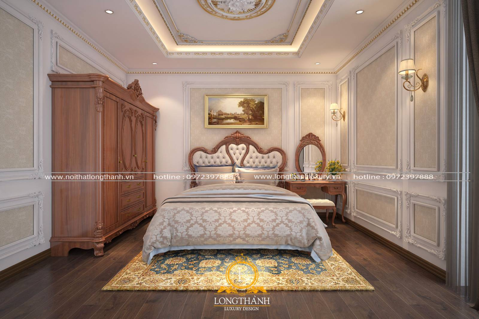 Mẫu thiết kế nội thất tân cổ điển cho phòng ngủ nhỏ