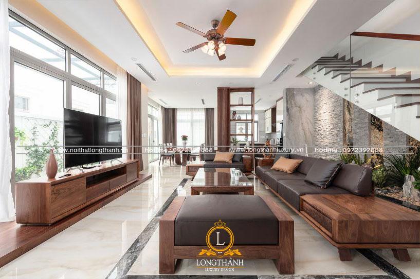 Mẫu nội thất phòng khách hiện đại cho nhà mặt phố
