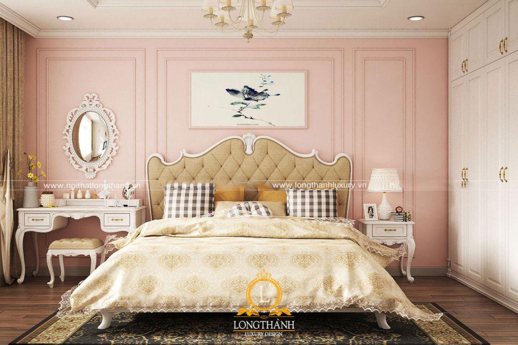 Hồng Paster cùng phòng ngủ tân cổ điển gỗ tự nhiên
