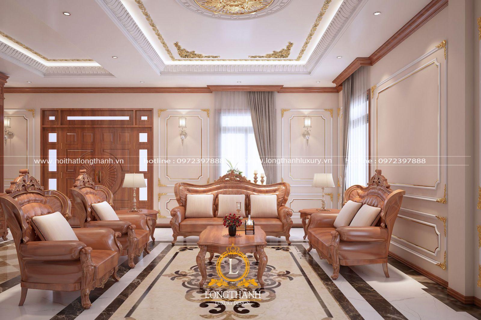 Chiêm ngưỡng TOP 6 mẫu sofa phòng khách gỗ hương đẹp mê đắm