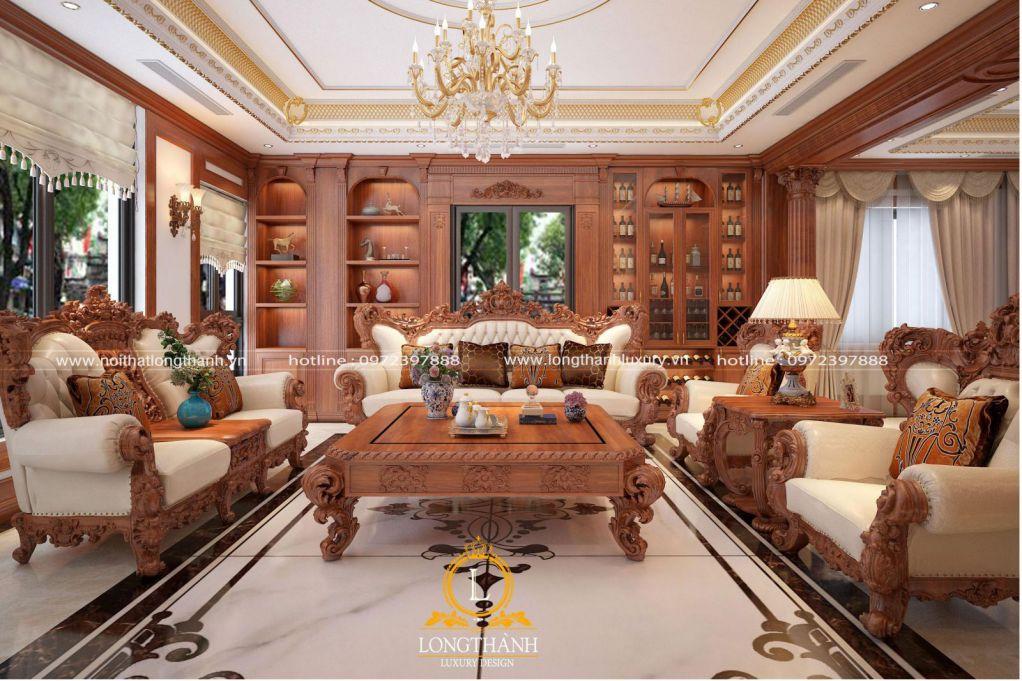 Đẹp, sang trọng cùng phòng khách tân cổ điển gỗ Gõ