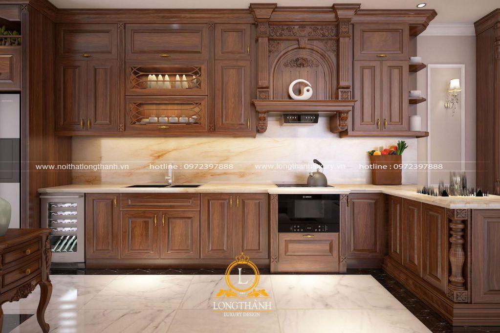 Tủ bếp gỗ tự nhiên Óc chó LT26