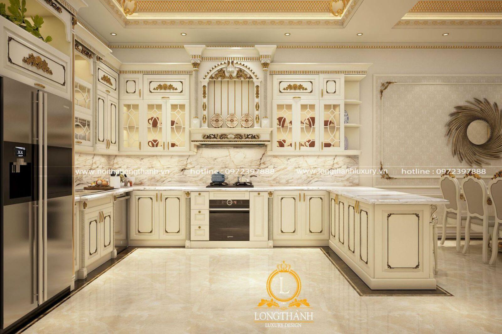 Đẹp lung linh với mẫu tủ bếp tân cổ điển sơn trắng