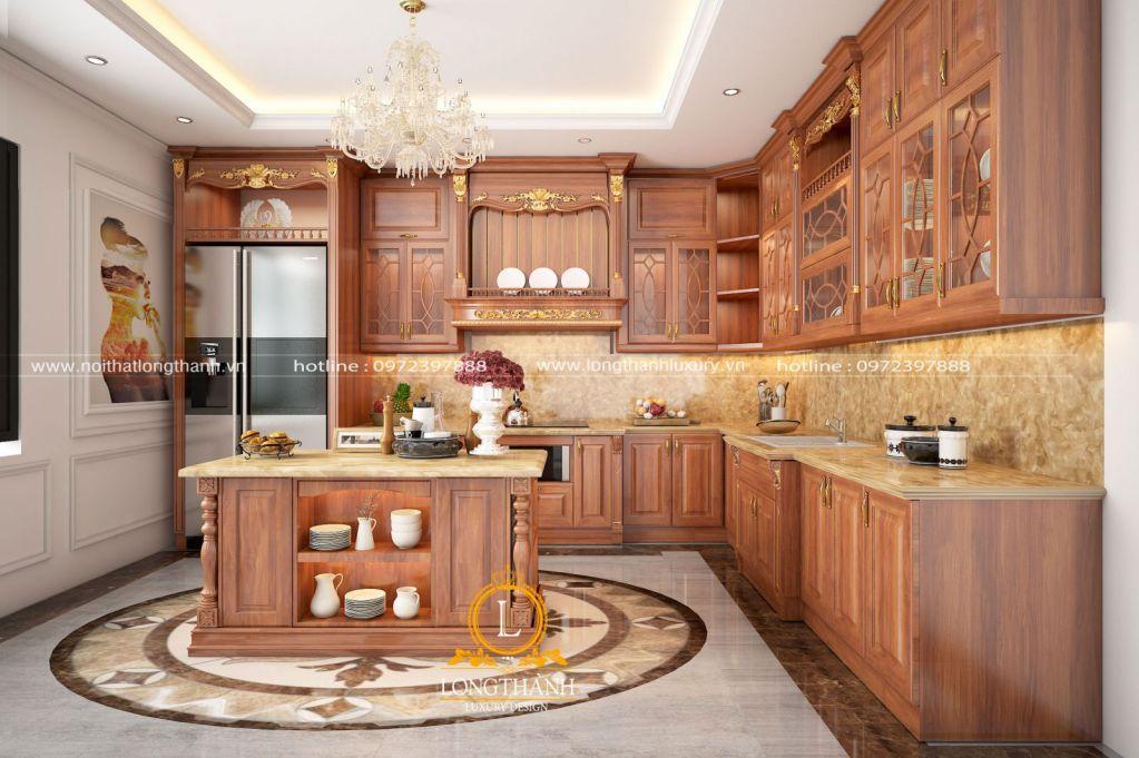 Tủ bếp gỗ tự nhiên sơn PU LT57