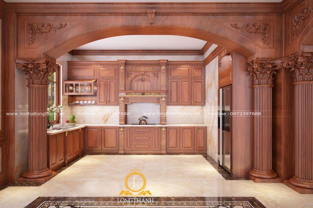 Tủ bếp gỗ Gõ LT57