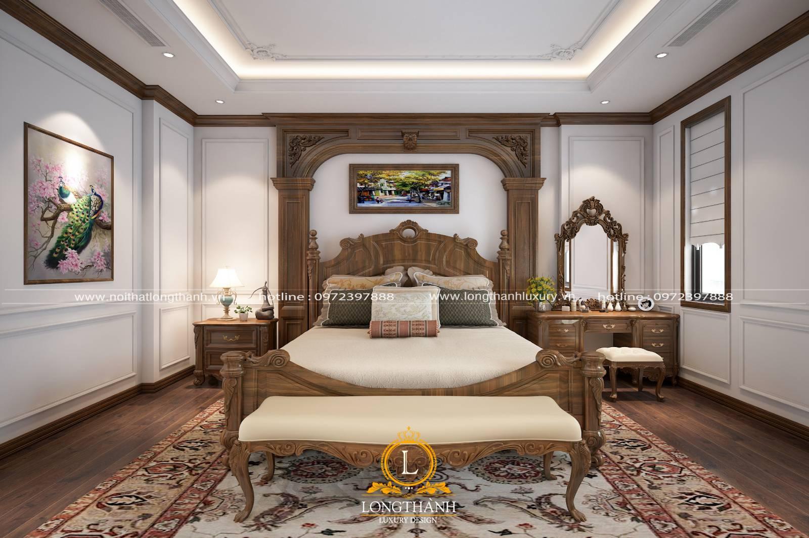 Bộ nội thất phòng ngủ tân cổ điển gỗ tự nhiên