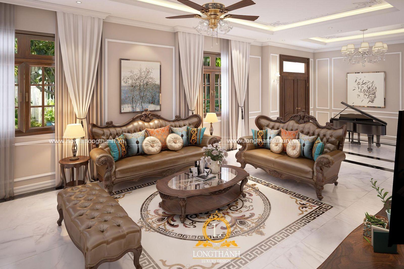 Mẫu thiết kế nội thất tân cổ điển đep cho phòng khách