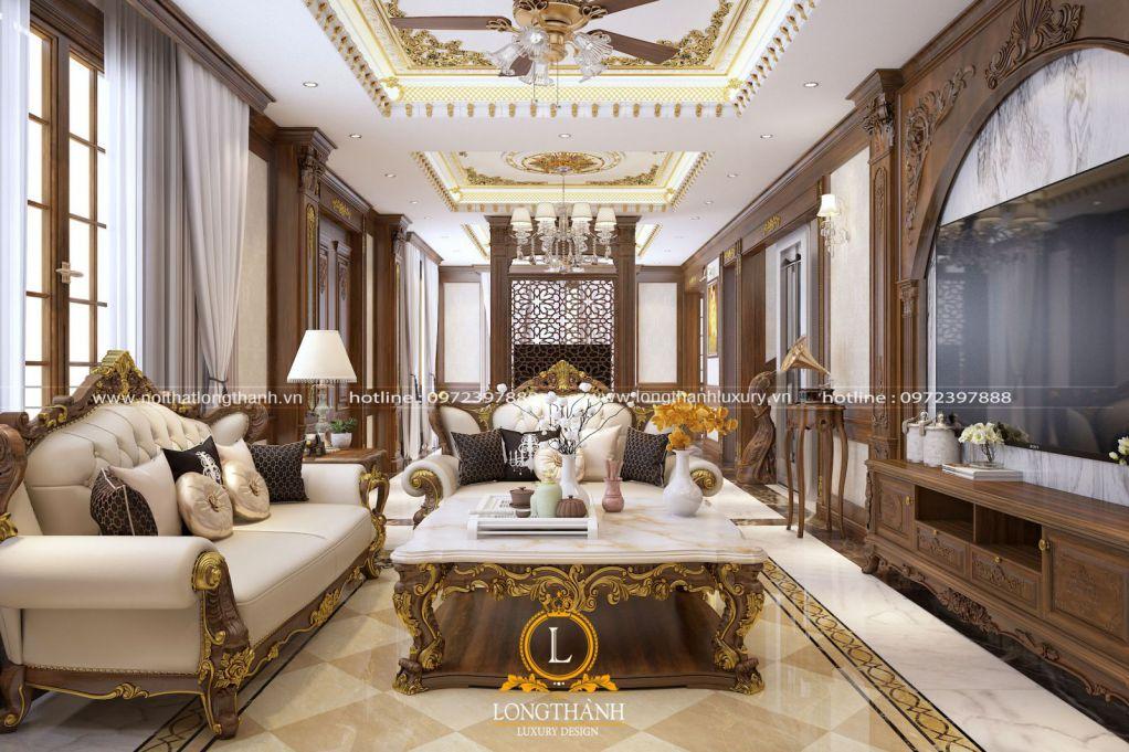 Thiết kế phòng khách đẹp từ chất liệu gỗ tự nhiên
