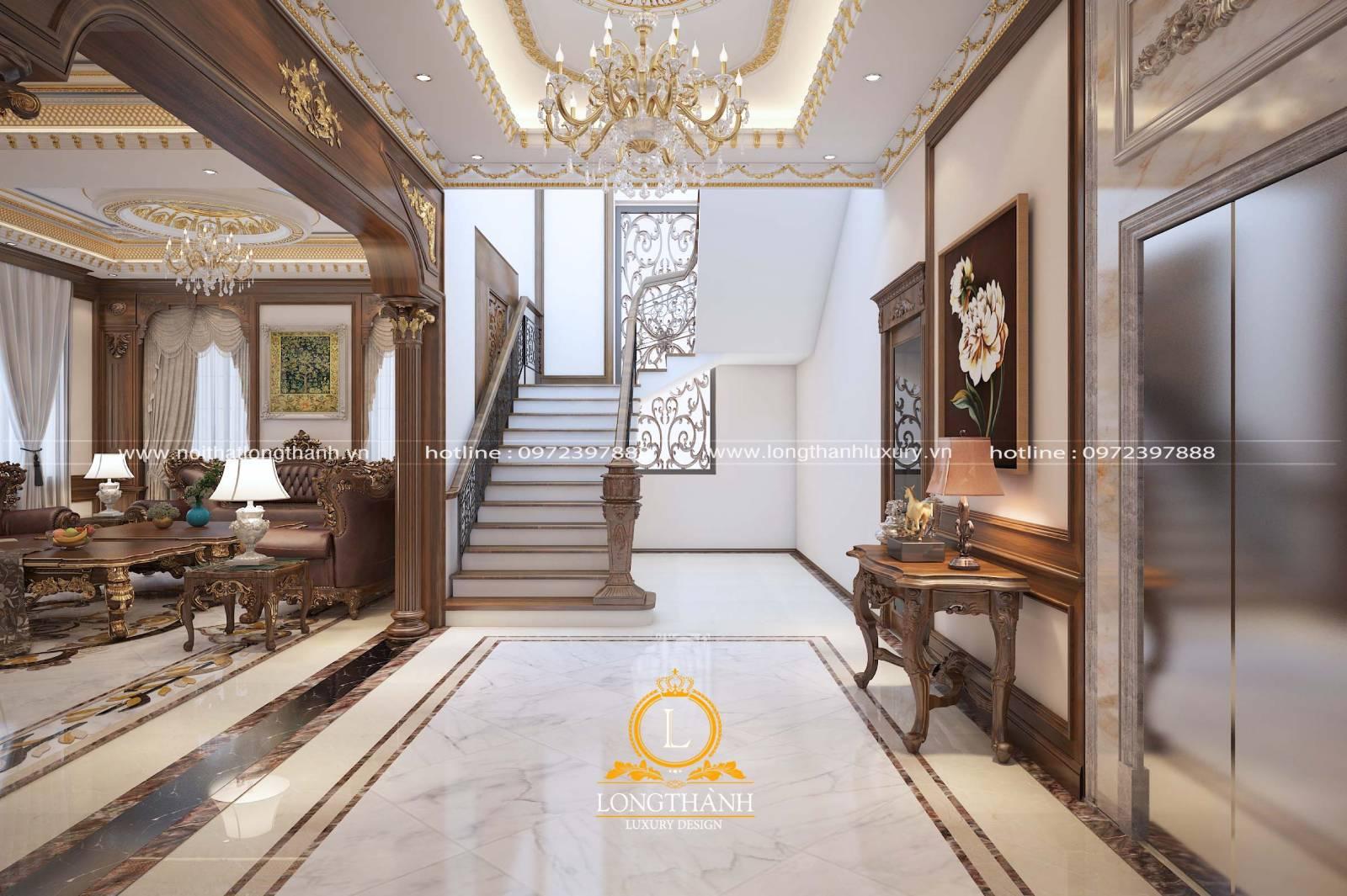 3 mẫu nội thất phòng khách tân cầu điển có cầu thang đẹp nhất