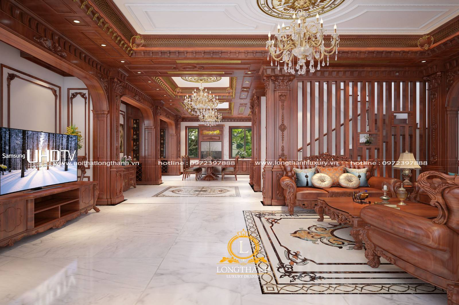 Những mẫu thiết kế phòng khách liền phòng ăn tân cổ điển đẹp nhất