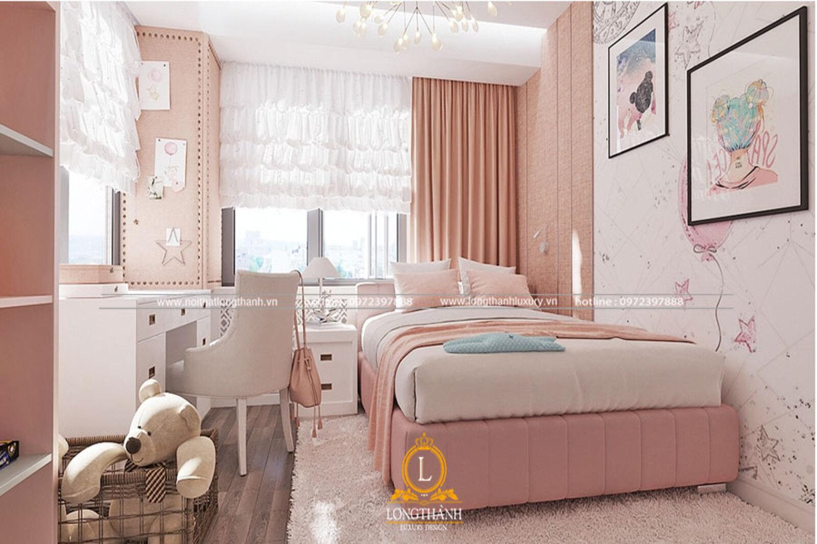 Phòng ngủ hiện đại với gam màu hồng trắng dành cho các cô bé học trò