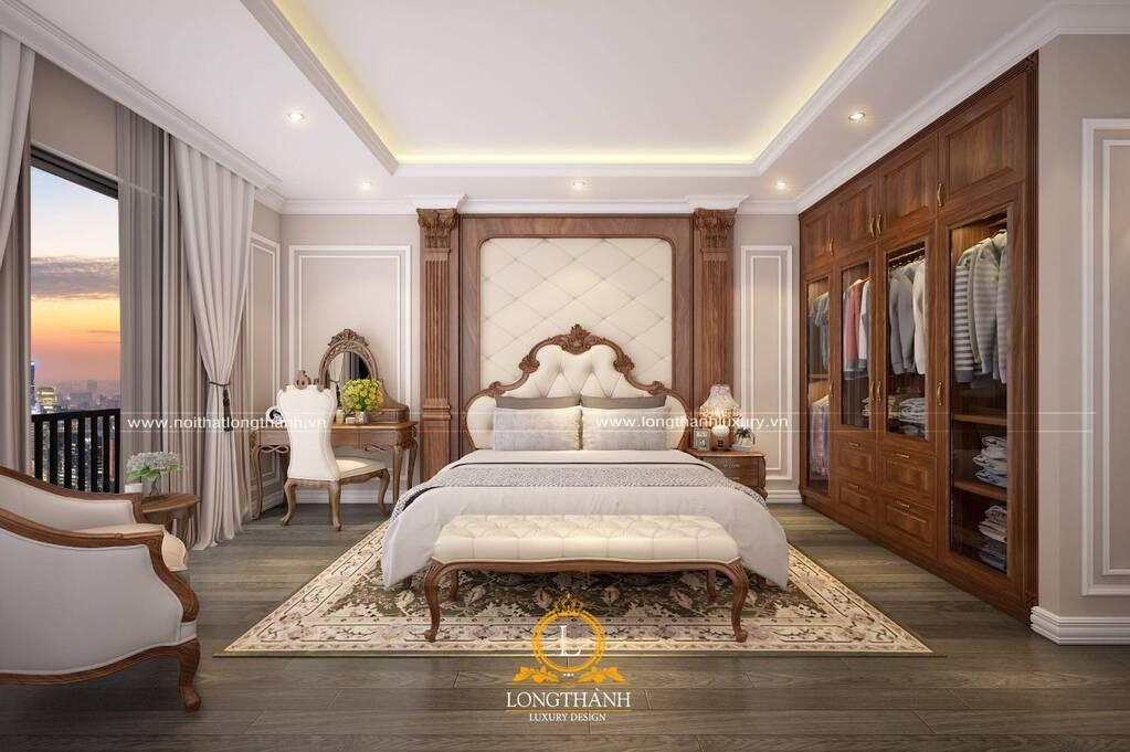 Mẫu nội thất phòng ngủ master tân cổ điển đẹp, sang trọng