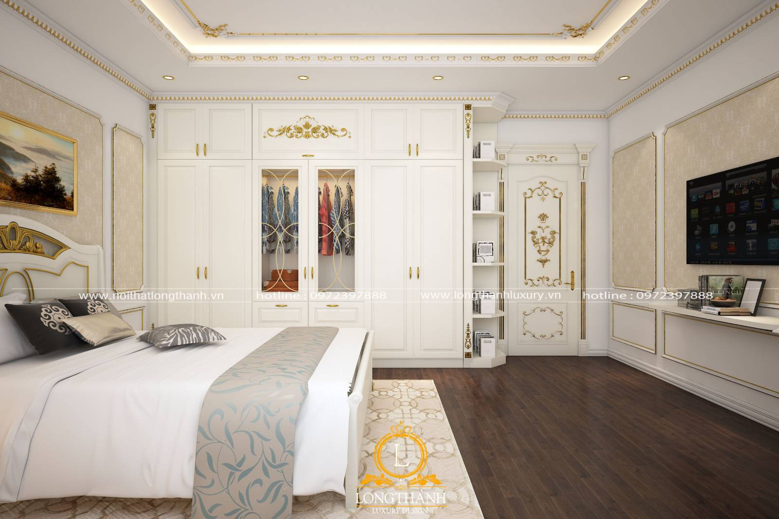Mẫu thiết kế phòng ngủ tân cổ điển màu trắng đẹp nhẹ nhàng