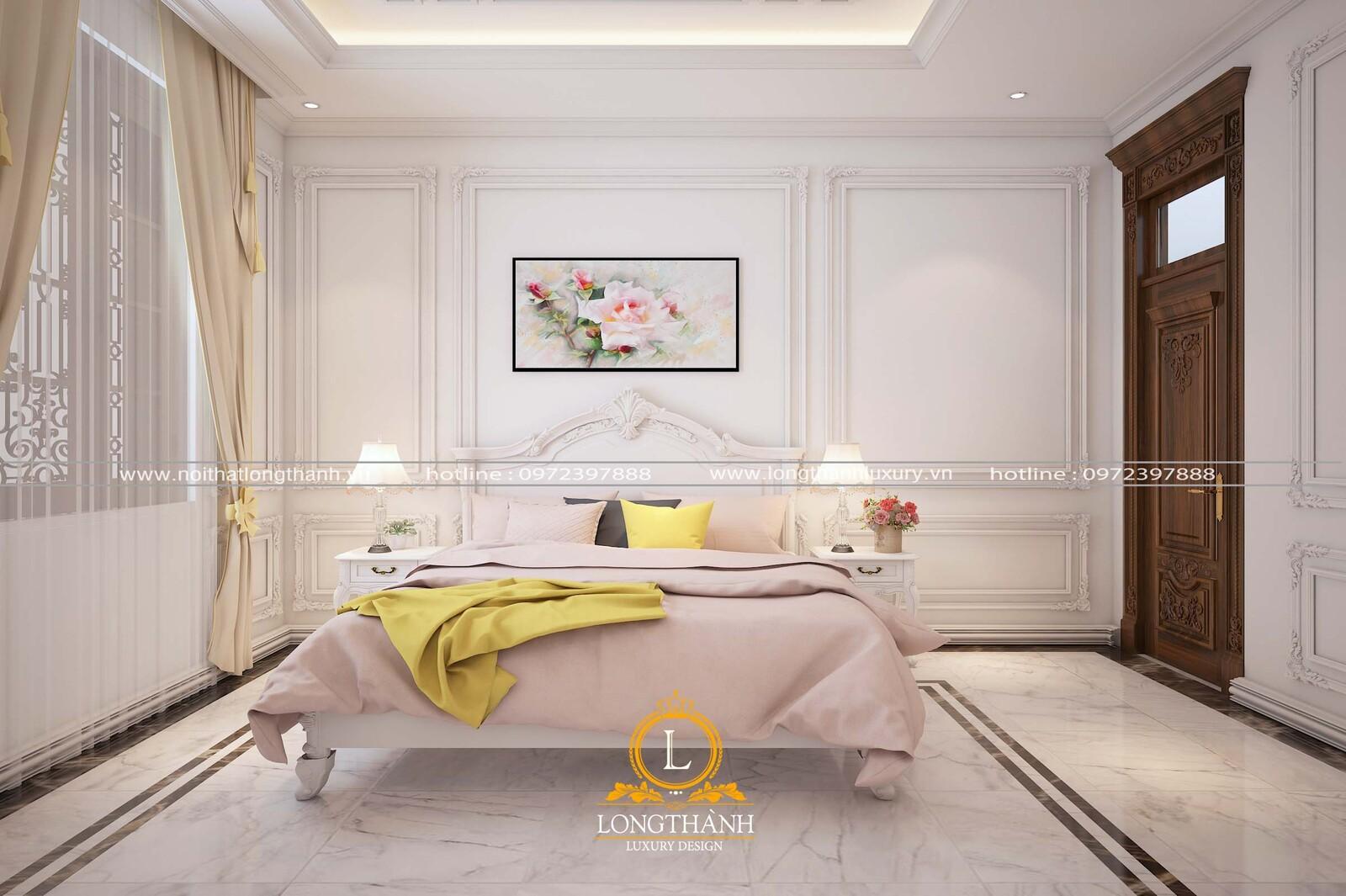 Mẫu phòng ngủ tân cổ điển với gam màu trắng tinh khôi